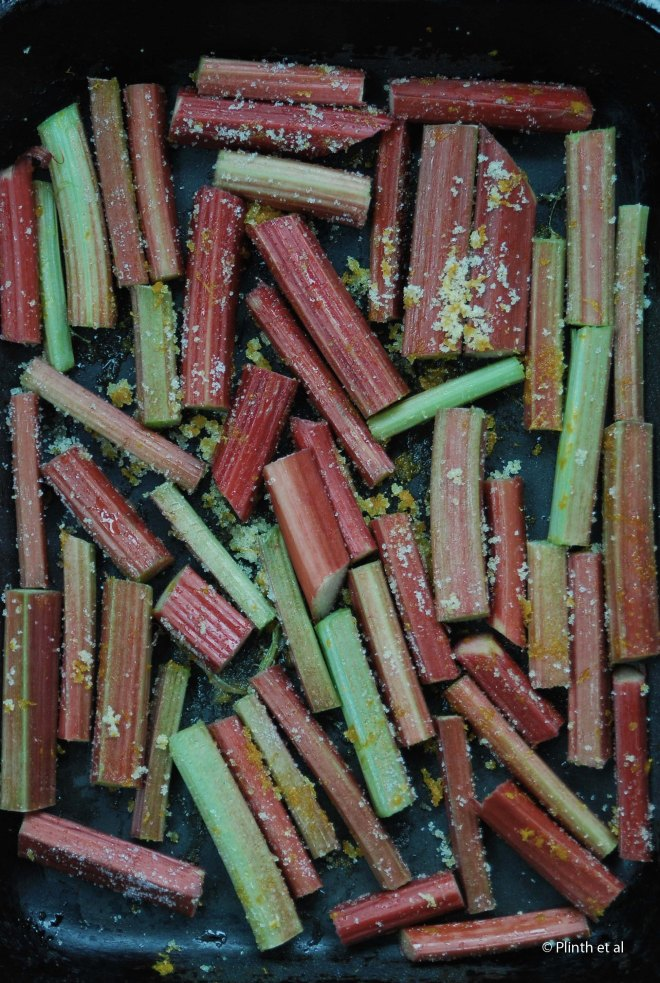 Rhubarb stems with sugar, orange zest, and some water in a cast-iron tray.