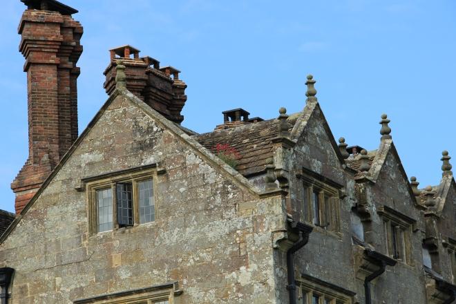 Gravetye roof with self seeded Centranthus ruber