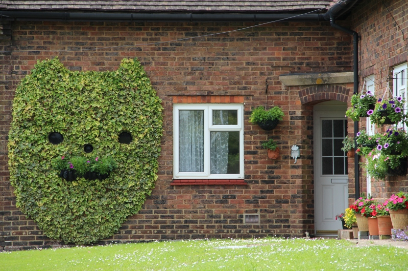 Kitty topiary on wall