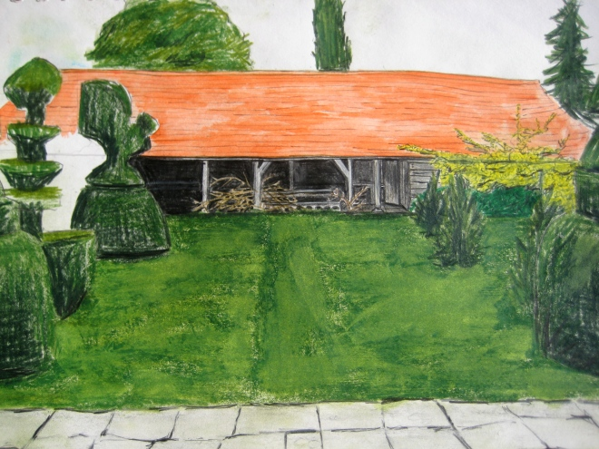 Great Dixter Topiary Lawn, colored pencil, 2008