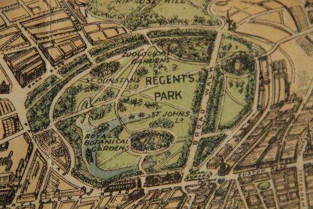 vintage map, Regent's Park