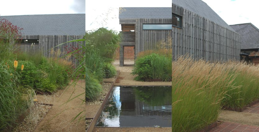 Recessed ditches filled with gravel break up the solemn, crisp formality of the rusted steel edges and timber boards (far left and central images); the black reflection pool is a visual eye-opener and contrasting note against the predominantly light hues ; the oak garage, too designed by Bradley-Hole, matches the weathered wood of the central oak pavilion (far right image).