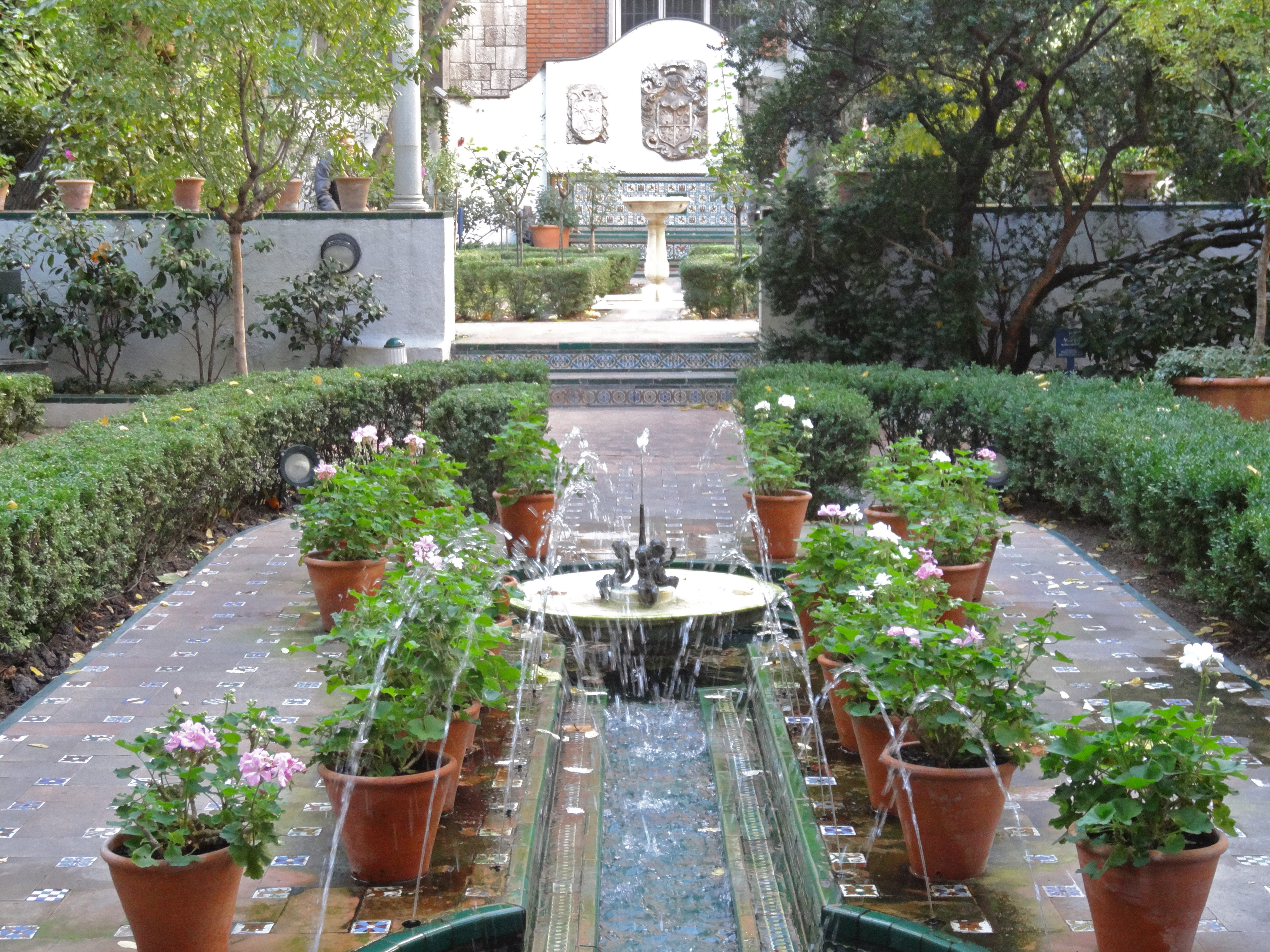 Beautiful Flower Garden With Fountain