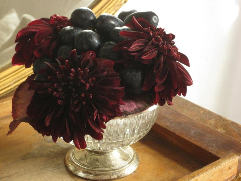 dahlia and grape arangement