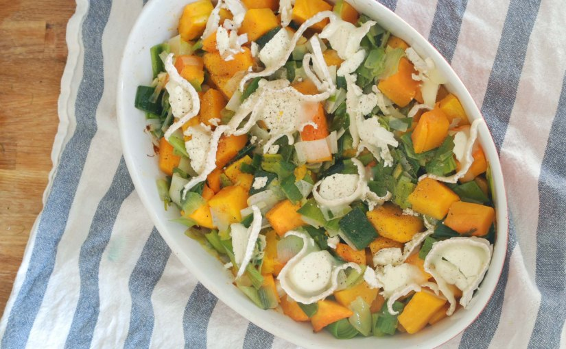 Butternut Squash and Leeks Baked with Goat's Cheese