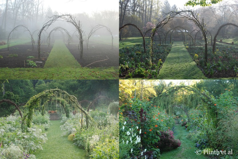 Using grapevine boughs from her father's property, Emma painstakingly wove them over the arches after removing the remnant old branches and wire. A constant in the Cut Flower Garden, the arches are structurally significant, giving height when the beds are bare in winter and early spring. Cloaked in vines and engulfed by the riot of vegetation, they become less visible later in the season.