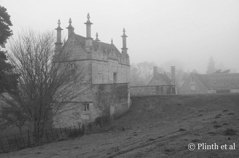The West Banqueting House, a Jacobean building, looks forlorn among the remnants of the Old Campden House destroyed in a fire in 1645.