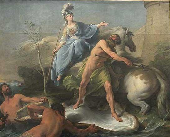 La Dispute de Minerve et de Neptune pour donner un nom à la ville d'Athènes, Halle Noël (1711-1781), huile sur toile, Hauteur 1.56 m.; Longueur 1.97 m., Paris, musée du Louvre