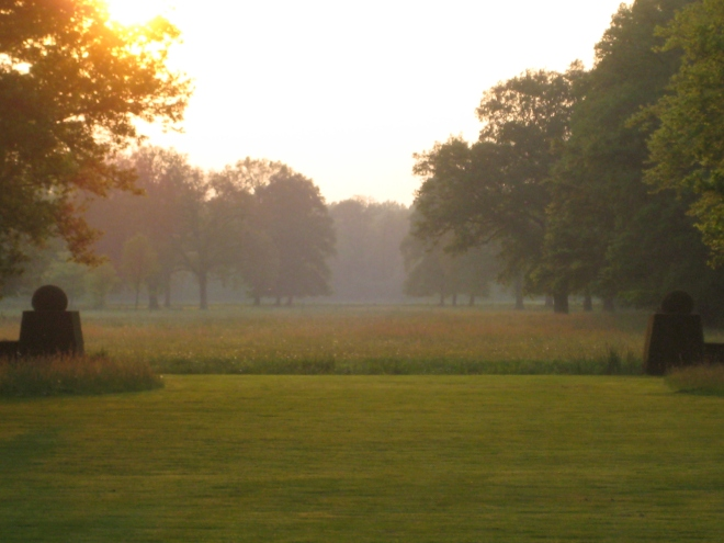 setting summer sun on West Lawn of DeWiersse