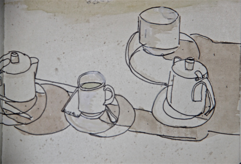 quick cafe study, ink and watercolor, J.McGrath, 2014