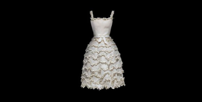 The Muguet dress by Christian Dior (Photo Credit: Dior);  Dior has beautifully captured the dainty bells of the lily of the valley  in the tiered layers of the dress.