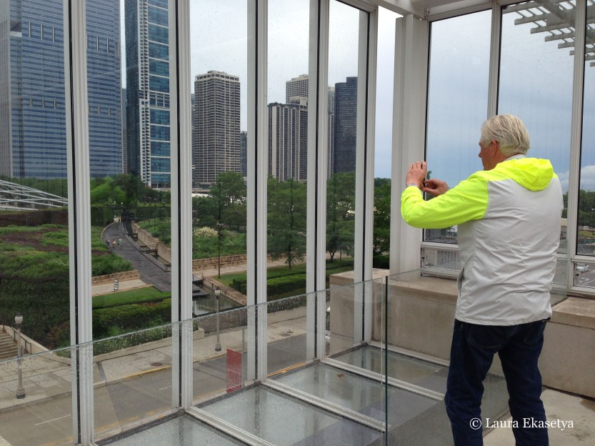 Piet Oudolf photographing the Lurie Garden from the Art Institute of Chicago