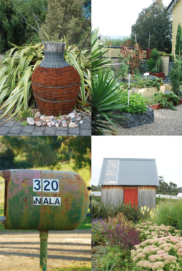 Rusty Motifs (clockwise beginning upper left): Wire Urn; welded abstract tree and corten steel planters; fuel barrel remade into a mailbox; shed with painted rust orange door - all in Australia