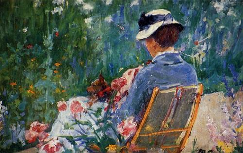 Lydia Seated in the Garden with a Dog in Her Lap by Mary Cassatt (private collection; image courtesy of wikipaintings)
