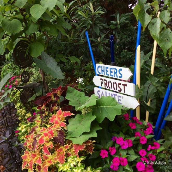 Playful signs pop out from coleus, impatiens, and Solanum quitoense in Brie's garden.
