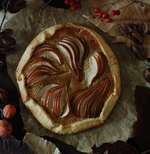 Holiday Fruit Desserts: Pear Hazelnut Frangipane Galette