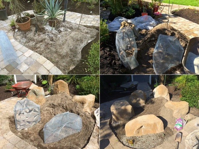 Justin's economical method of building fake rocks for his garden.