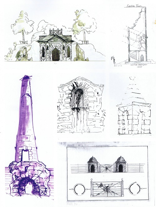 Detailed sketches for Wormsley, one of the Bannermans' commissions.